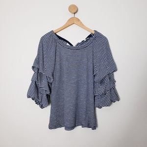 Skies Are Blue Anthropologie Ruched Stripe Ruffle
